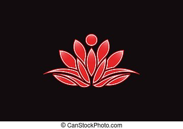 Red Lotus flower logo. Vector Icon
