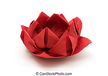 Red lotus origami on a white background