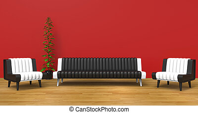 Red Lounge Room With Black and White Furniture