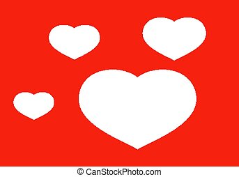 Red love background with scattered hearts