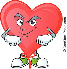 Red love balloon mascot cartoon character style with Smirking face