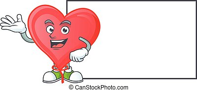 Red love balloon with whiteboard cartoon character style