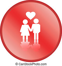 Red love couple button