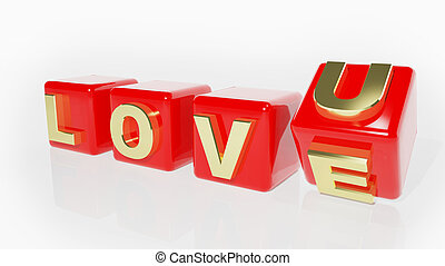 Red Love cubes on white background
