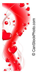 red love heart abstract wavy shape