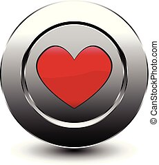 red love heart button