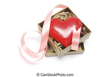 Red Love Heart in Gift Box