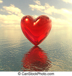 red love heart on a water background - 3d red love heart on...