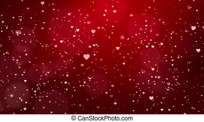 Red love hearts bokeh sparkle glitter particle motion Loop ...