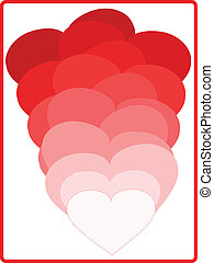 Red love hearts, eps 10, vector