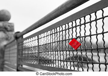 Red love lock padlock with heart symbol of unbreakable love
