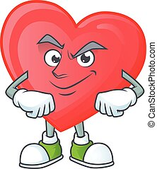Red love mascot cartoon character style with Smirking face