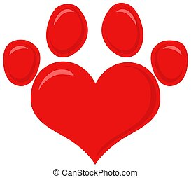 Red Love Paw Print Logo Flat Design.