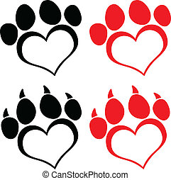 Red Love Paw Print With Claws Set Collection