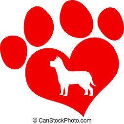 Red Love Paw Print With Dog