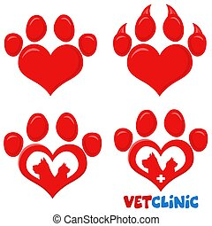 Red Love Paw Silhouette Print Logo Flat Design Set 2. Vector Collection