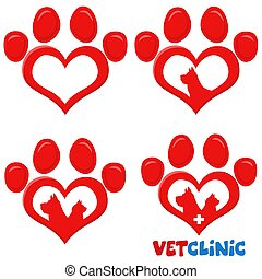 Red Love Paw Silhouette Print Logo Flat Design Set 3. Vector Collection