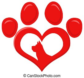 Red Love Paw With Dog Silhouette Print Logo Flat Design