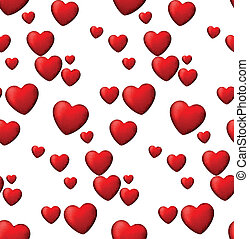 Red love seamless background of heart bubbles. - Vector...