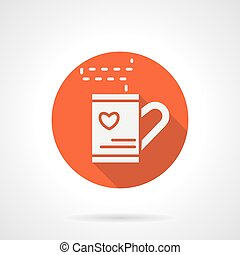 Red love tea cup round vector icon