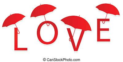 Red love umbrella concept background vector card