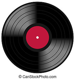 Image of a vintage and analog 33 RPM LP vinyl disc record with blank red central label for your music copy. Isolated on white background.
