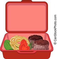 Red lunchbox icon, cartoon style