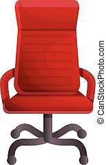 Red luxury chair icon, cartoon style