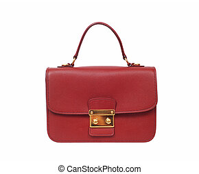 red luxury female handbag isolated on white background