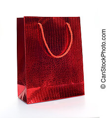 Red luxury shopping bag isolate on white