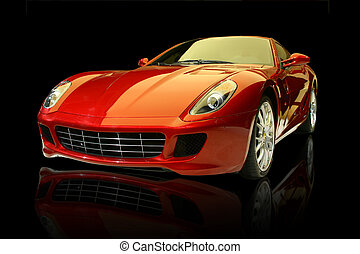 Red luxury sports car against a black background and with...