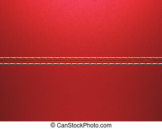Red luxury stitched leather background. Large resolution