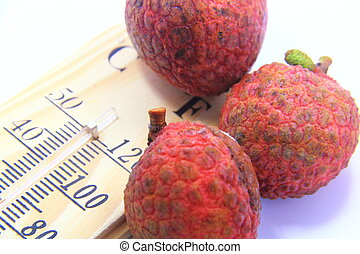 red lychee with thermometer