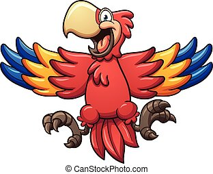 Red macaw - Red cartoon macaw. Vector clip art illustration...
