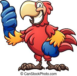 Red macaw - Red cartoon macaw with thumbs up. Vector clip...