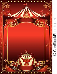 Red magic circus poster - A red background circus with a...