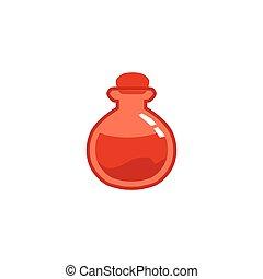 Red magic potion bottle - flat icon isolated on white background.