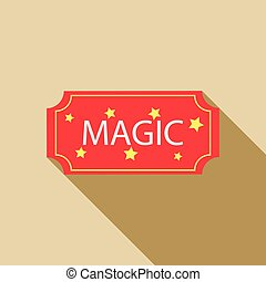 Red magic show ticket icon, flat style