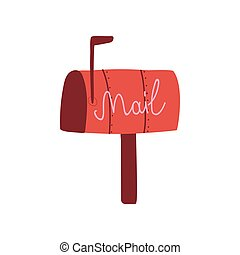 Red Mail Box, Post Office Box Vector Illustration on White Background.