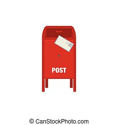 Red mail post box vector illustration isolated on white background