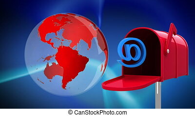 Digitally generated animation of rotating red globe beside mailbox with an at email sign