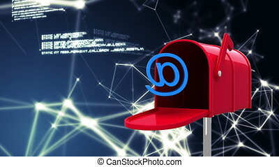 Digitally generated animation of red mailbox opens with an at email sign, glowing asymmetrical lights and data in the background.