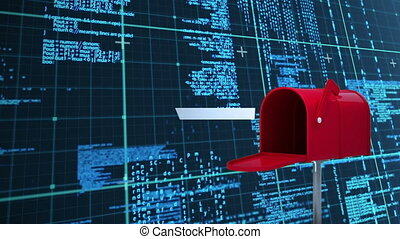 Digital animation of red mailbox opening to send out mails in darrk background with digital codes and square patterns.