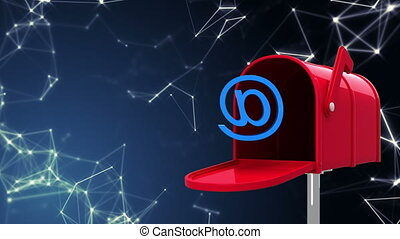 Digitally generated animation of red mailbox opening to release an at email sign and the stars.