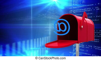 Digitally generated animation of red mailbox opening to release an at email sign while background shows binary codes