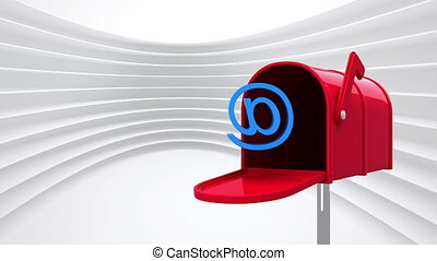 Digitally generated animation of red mailbox opening to release an at email sign while background shows white lines pattern