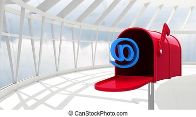 Digitally generated animation of red mailbox opening to release an at email sign while on a viewing deck with a background of the sky