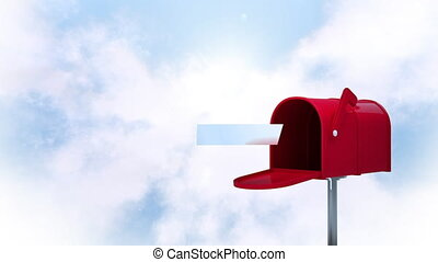 Digitally generated animation of red mailbox sending letters and background of the sky with clouds