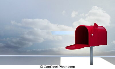 Digitally generated animation of red mailbox sending out letters in the sky with the clouds in the background.