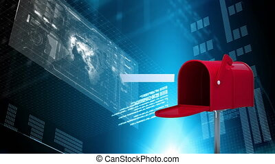 Digitally generated animation of red mailbox sending out letters while background shows digital world map